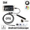 5.5mm Lente 5 M Android OTG USB Câmera Endoscópio Endoscópio 6LED Flexível Snake Inspeção Tubo USB Android Telefone À Prova D' Água câmera