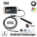 5.5mm Lente 5 M Android OTG USB Endoscopio Cámara Impermeable del USB Serpiente Flexible Pipe Boroscopio Inspección Android Teléfono 6LED cámara