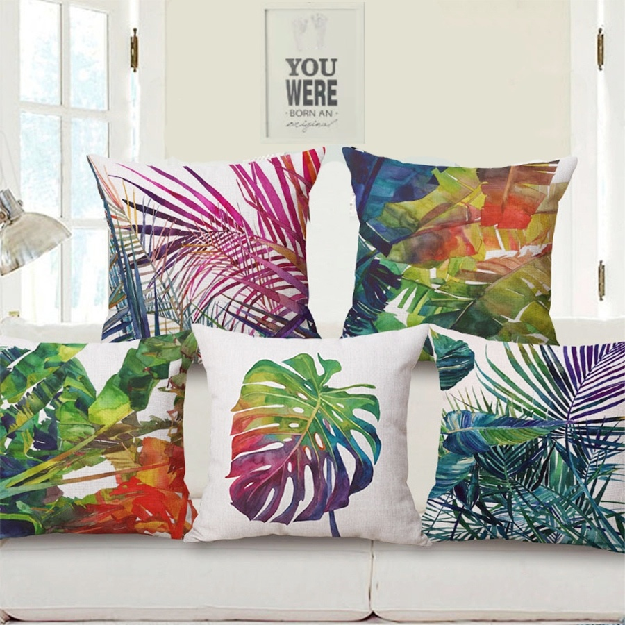 Tropical Plant Palm Leaves Pillows for Home Decor Southeast Asian Thailand Subtropical Sofa Cushion Cover Decorative Pillowcases