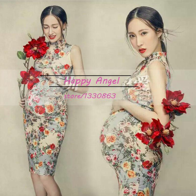 New Photography Props for pregnant women Chiffon Chinese cheongsam dress Pregnancy Flower dress set Maternity Free shipping