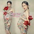 Novos Adereços Fotografia para mulheres grávidas Chiffon Chinês vestido cheongsam conjunto vestido de Flores Maternidade Gravidez Frete grátis