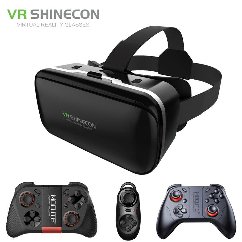 Shinecon 6.0 VR Virtual Reality 3D Glasses Headset Helmet for 4 6 inch Smartphone VR Google Cardboard with Gamepad Joystick