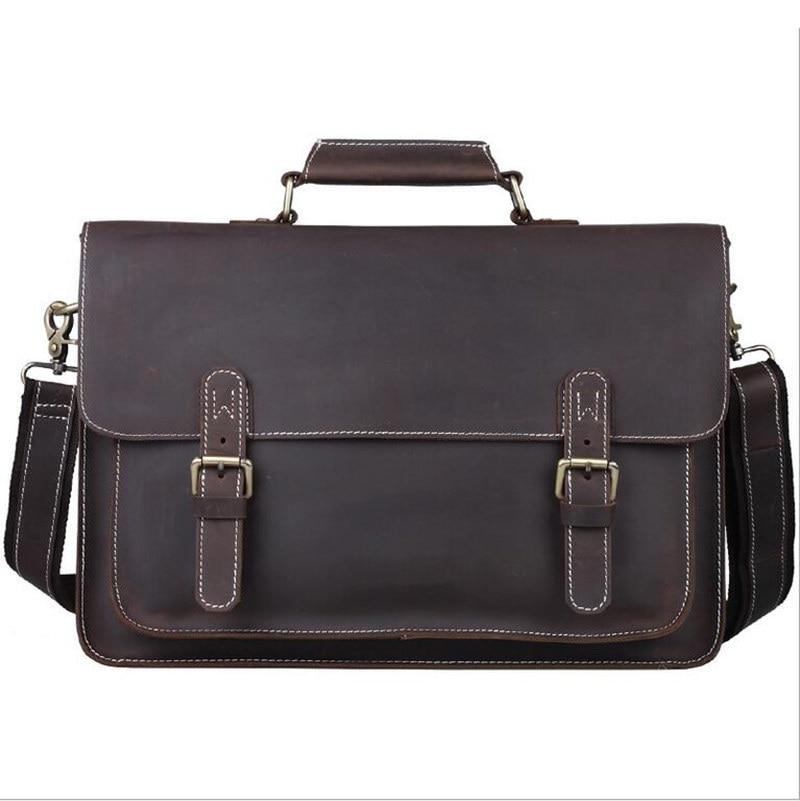 """Bagaj ve Çantalar'ten Evrak Çantaları'de Erkek Evrak Çantası Hakiki Deri Erkek omuz çantaları Portföy 15 """"Dizüstü postacı çantası Crossbody Bolso Seyahat Iş Çanta'da  Grup 1"""