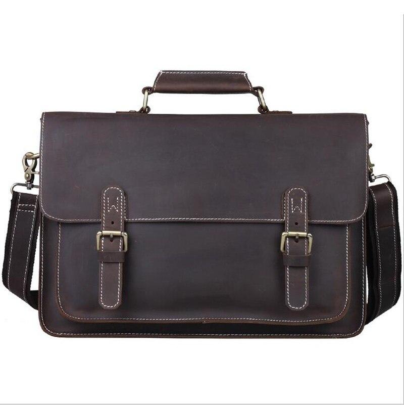 Men's Briefcase Genuine Leather Male Shoulder Bags Portfolio 15
