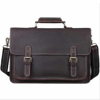 "Men\'s Briefcase Genuine Leather Male Shoulder Bags Portfolio 15\"" Laptop Messenger Bags Crossbody Bolso Travel Business Handbag - Category 🛒 Luggage & Bags"
