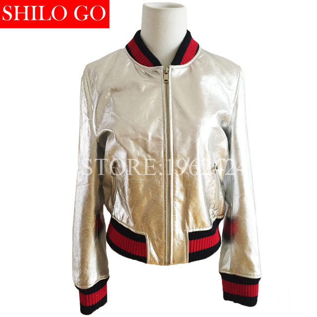 HOT Free shipping 2016 new autumn fashion women high quality gold silver tide casual baseball sheep leather coat &2XL