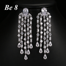 Be8 Brand AAA Cubic Zirconia Elegent Tassel Dangle Earrings Fashion Luxury 4 Coulorful Style For Women Party Gifts Choice E-207 be8 brand aaa cubic zirconia fashion tassel dangle earrings unique jewelry beautiful long dangle earring for girl gifts e 298