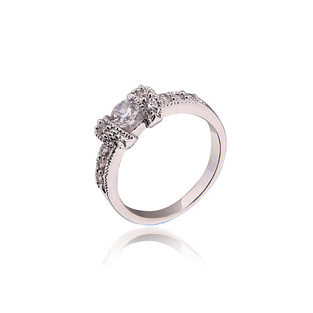 Platinum Plated Rings Round Cut White Clear CZ Zirconia Ring For Women,Free Shipping(RW-12) mariposa en plata anillo