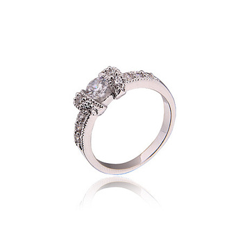 White Gold Color Wedding Rings Round Cut White Clear CZ Zirconia Ring For Women,Free Shipping 2RW-12 image