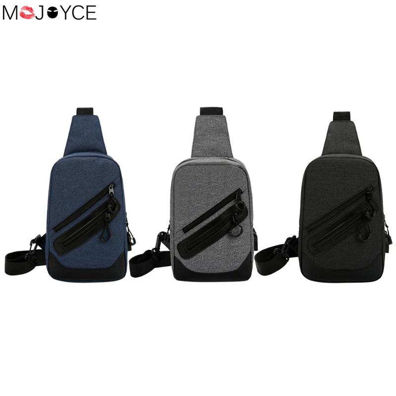 2018 New Arrival Crossbody Bags Men Anti-theft Chest Pack Summer Short Trip Messengers Bag Canvas iPad Storage Bag USB Charging