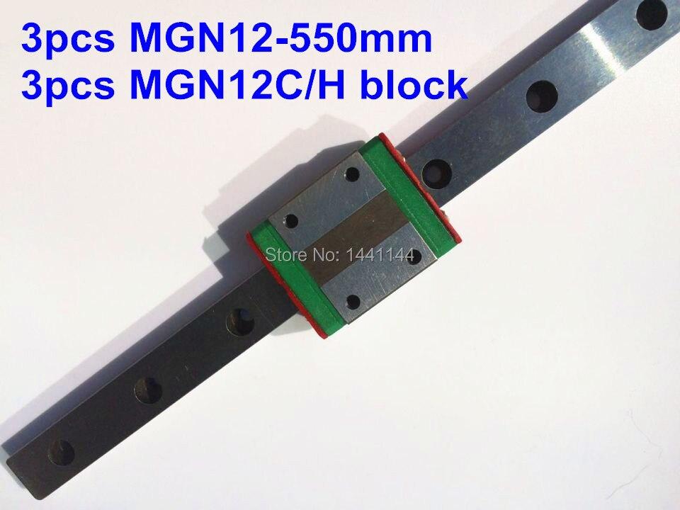 MGN12 Miniature linear rail: 3pcs MGN12 - 550mm + 3pcs MGN12C/MGN12H block for X Y Z axies 3d printer parts цена