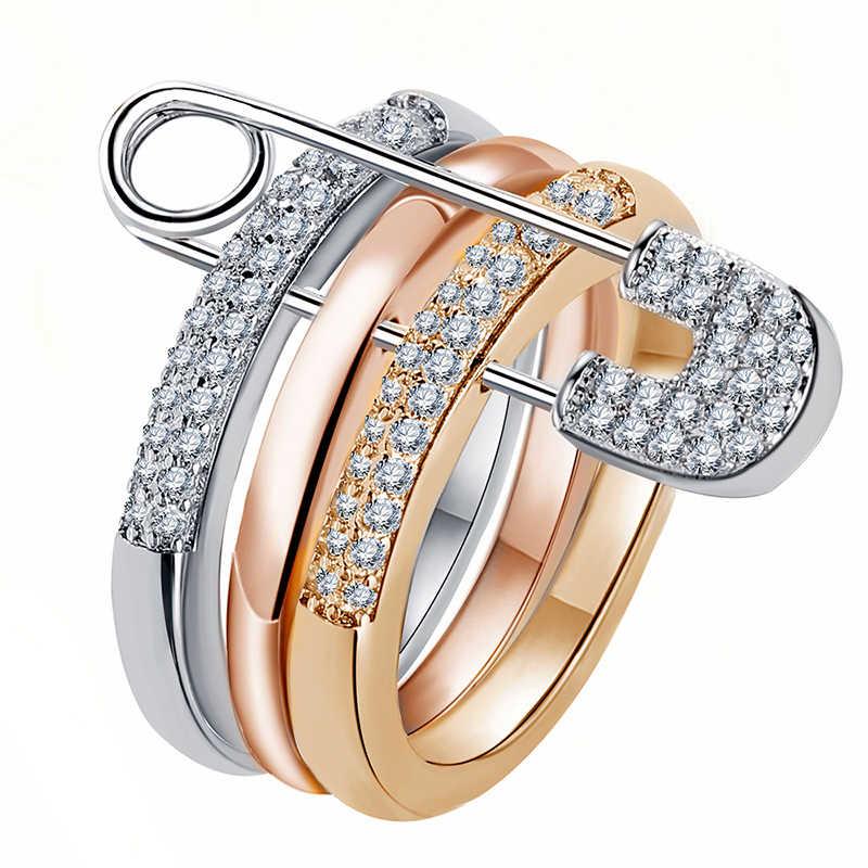 Серебряные и белые кольца на палец, набор для женщин, с булавкой, кубический циркон, кольцо, проложить, установка, женский аксессуар для вечеринки, свадьбы, Mujer Bague