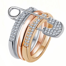 Silver And White Finger Rings Set For Women With Pin Cubic Zircon Ring Pave Setting Female Party Wedding Accessory Mujer Bague(China)