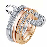 Silver And White Finger Rings Set For Women With Pin Cubic Zircon Ring Pave Setting Female Party Wedding Accessory Mujer Bague