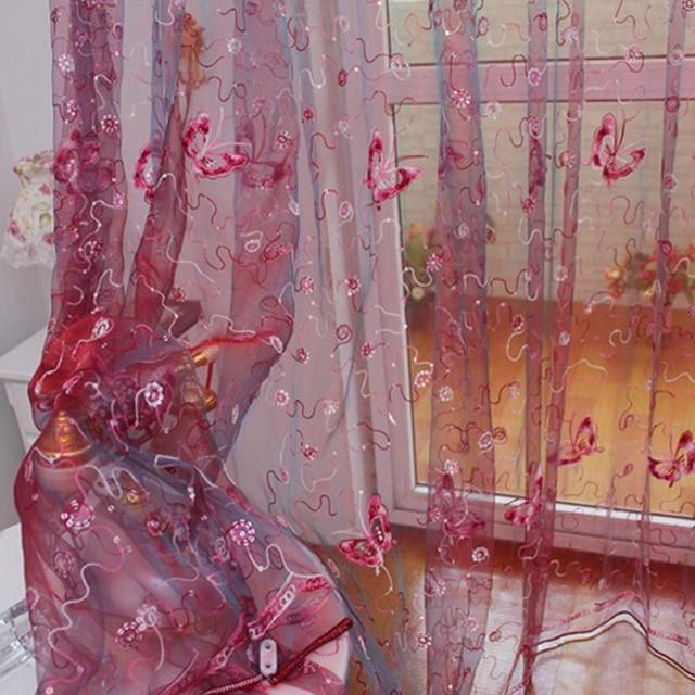 Francese Romantico Brillante Farfalla Ricamato Tende di Voile Finestra Pannello di Tessili Per La Casa Camera Da Letto Tende di Tulle Cortinas T & 344 #20
