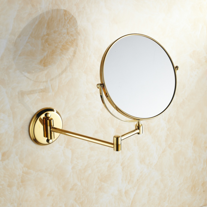 Double Side Bathroom Folding Brass Shave Makeup Mirror Gold Plated Wall Mounted Dual Arm Extend Bath Mirror LO74326 bath mirrors 8 double side brass shave makeup mirror chrome hotel wall mounted extend with arm round base 3x magnifying 1758