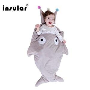 Image 2 - Insular sac de couchage pour bébé, couverture de requin, mignon, dessin animé, sac de couchage dhiver pour bébé, selle chaude, nouveauté