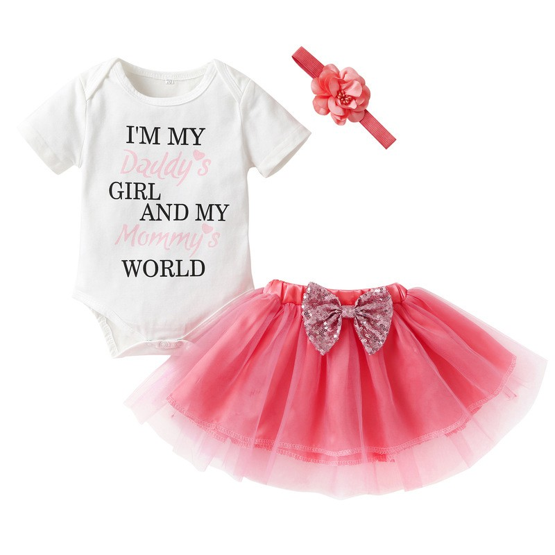 3PCS Baby Girl Clothes Set Newborn Baby Romper+ Mesh Bow Skirt + Hair Band Birthday Baby Girl Dress Photography Baby Clothes