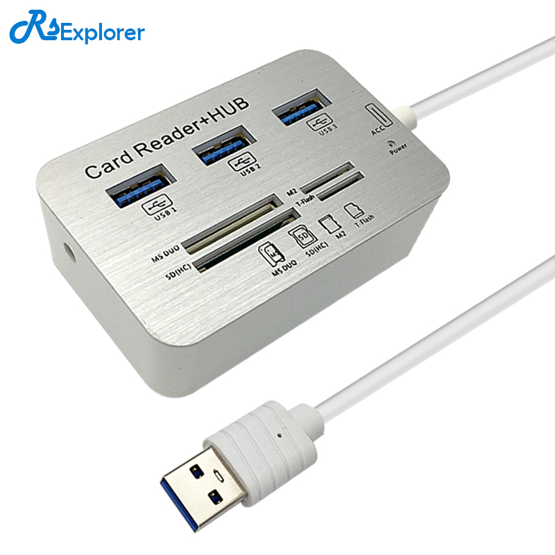 RSExplorer mini Usb 3.0 Multi hub and Card Reader COMBO high speed hab with MS/SD/M2/TF and with 3 ports usb splitter for pc