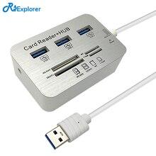 Rsexplorer Mini-USB 3.0 Multi HUB и Card Reader Combo высокая скорость вцв с MS/SD/M2/ TF и с 3 портами USB разветвитель для ПК