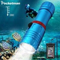 Pocketman XM-L2 mergulho lanterna lanterna led 200 m lanternas subaquáticas led poderosa lâmpada de mergulho 18650 ou 26650