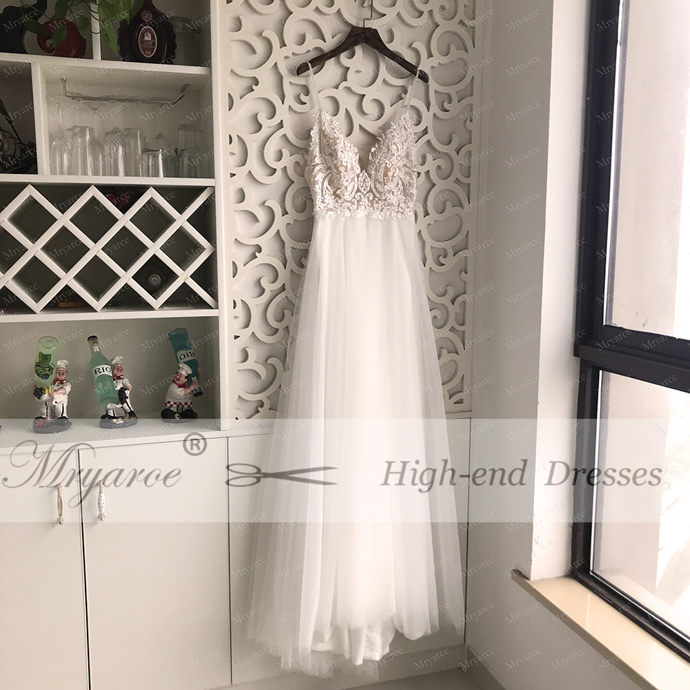Mryarce Exclusive lace Beading Flowing Tulle A Line  Wedding Dress Open Back Summer Beach Elegant Bridal Gowns  (5)