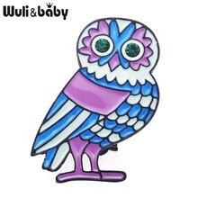 Wuli&baby Classic Blue Enamel Owl Brooches Women Men's  Alloy Animal Wedding Banquet Party Brooch Girls' Hat Bag Accessories
