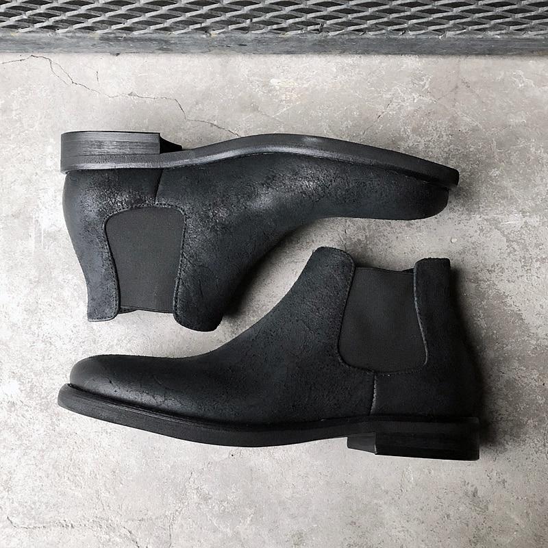 Cuero Slip Vaca De Hombres Los Otoño Retro Black En Zapatos Casuales Mano Hecho Botas Chelsea A Genuino FtBwTt6q