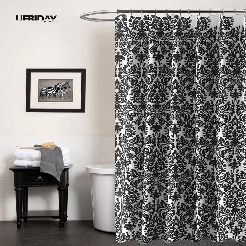UFRIDAY Black and White Baroque Waterproof Shower Curtain ...
