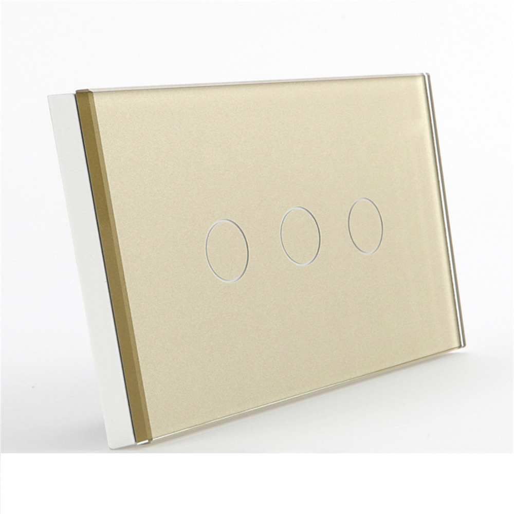 Bseed 220v US Touch Switch 3 Gang 2 Way Touch Light Switch US Standard 3 Gang With Glass Panel Gold Us Au Eu Uk us au standard 2 gang 1 way glass panel smart touch light wall switch remote controller white black gold