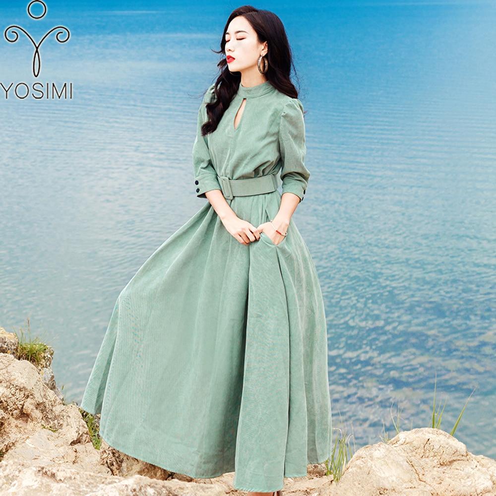 YOSIMI 2018 longue femmes robe velours côtelé automne hiver Maxi robe pour les femmes Vintage pleine manches cheville-longueur femelle Vestido vert