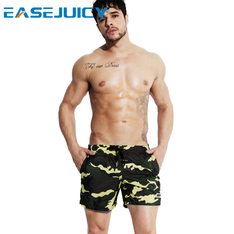 Summer Men's bathing suit   board     shorts   swimsuit joggers quick dry printed beach   shorts   surfing swimwear loose trunks mesh