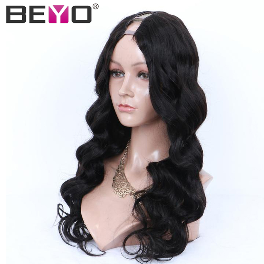 U Part Wig Glueless Human Hair Wigs For Women Brazilian Body Wave Lace Wig 10-26 Inch 150 Density Natural Color Remy Hair Beyo (1)