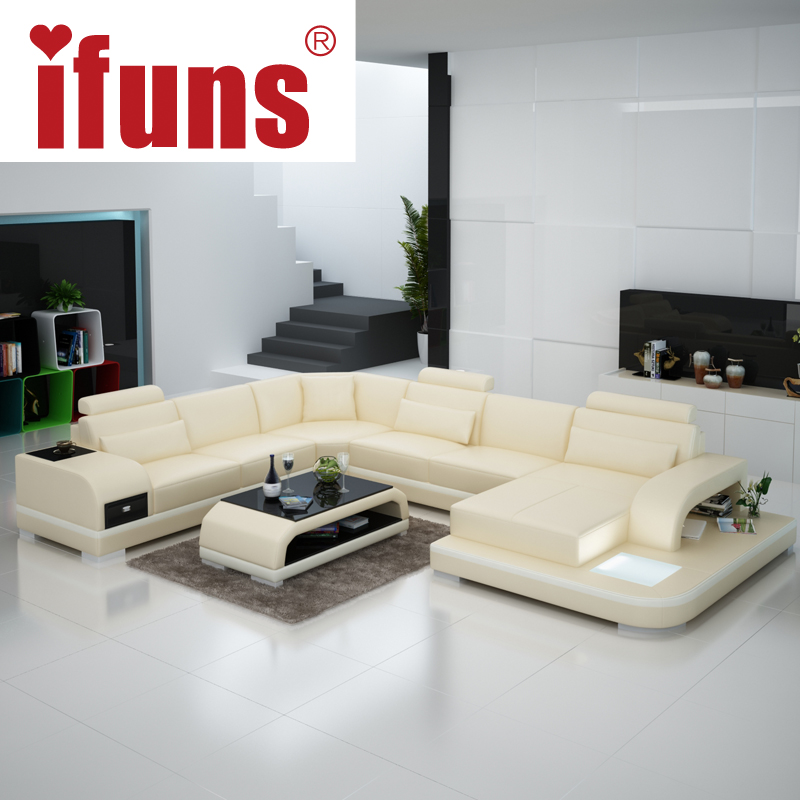 US $4117.0 |IFUNS Orange and white customized color Italian leather sofa u  shaped luxury sofa sectional sets living room furniture (fr)-in Living Room  ...