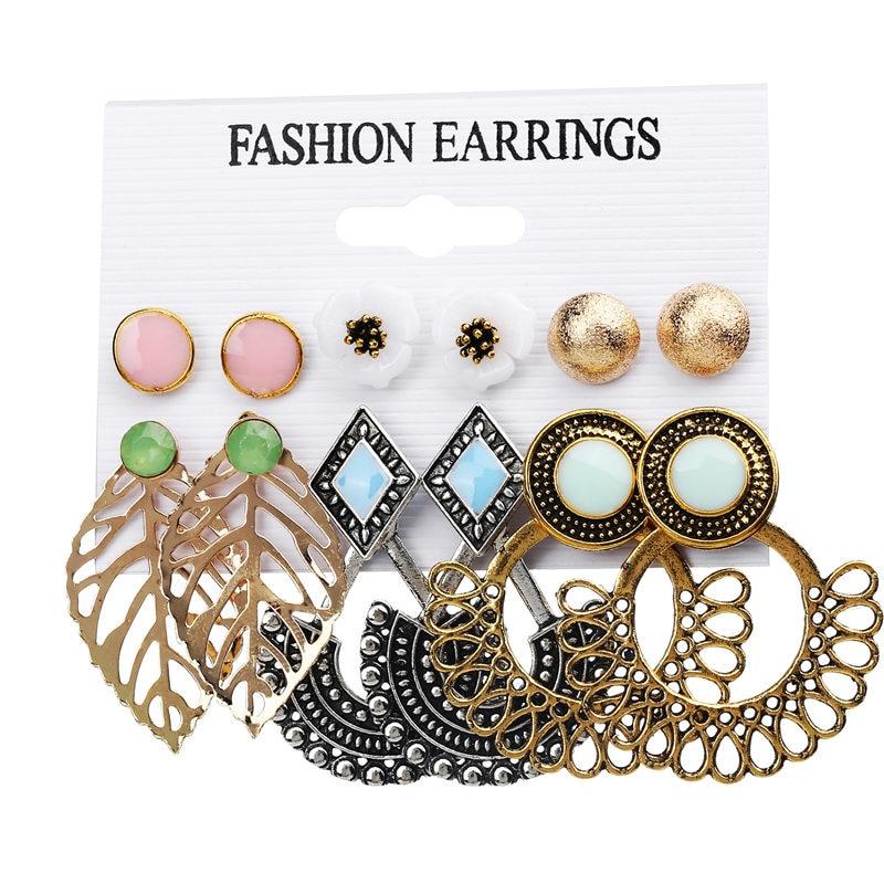 JIKA ANDA 6 Pairs / Set Mode Trendy Putaran Warna Emas Batu Punk Stud - Perhiasan fashion - Foto 4