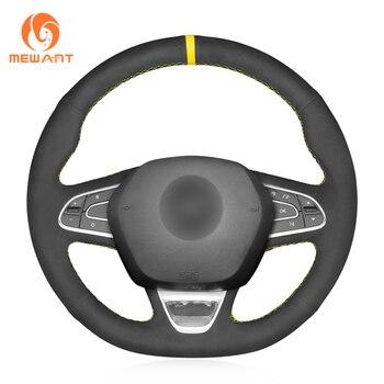 MEWANT Black Synthetic Suede Car Steering Wheel Cover for Renault Kadjar 2015-2019 Renault Samsung QM6 2016-2019