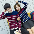 2016 Spring Autumn Men/Women Unisex Couple Casual Long Sleeved O-neck Pullover Slim Fit Knitted Striped Sweater Wine/Navy/Beige
