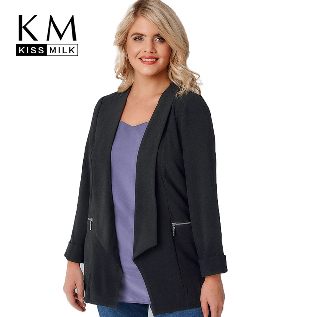 kissmilk 2018 Plus Size Solid Black Office Lady Women Blazers Notched Collar Zipper Long Sleeve Female Big Size Coats Outwears