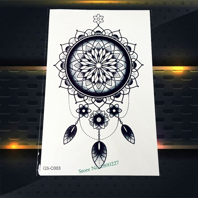 1PC Waterproof Large Dreamcatcher Tattoo Women Body Art Temporary Tattoo Stickers On Back Henna Flower Arm Tatoo Dream Catcher