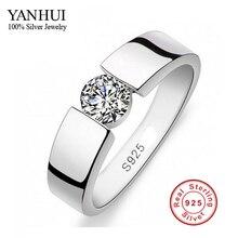 Enviado certificado de plata! Men 's 100% 925 Set anillo de plata SONA 1 quilates CZ anillo de compromiso anillo tamaño del anillo 6 – 11 YRD10