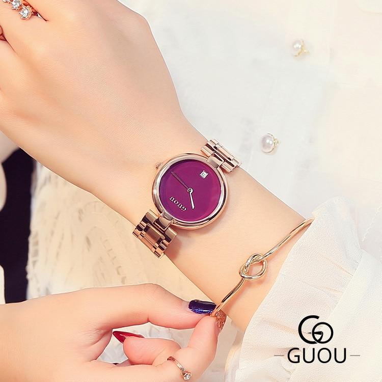 Simples relógios de quartzo moda feminina casual