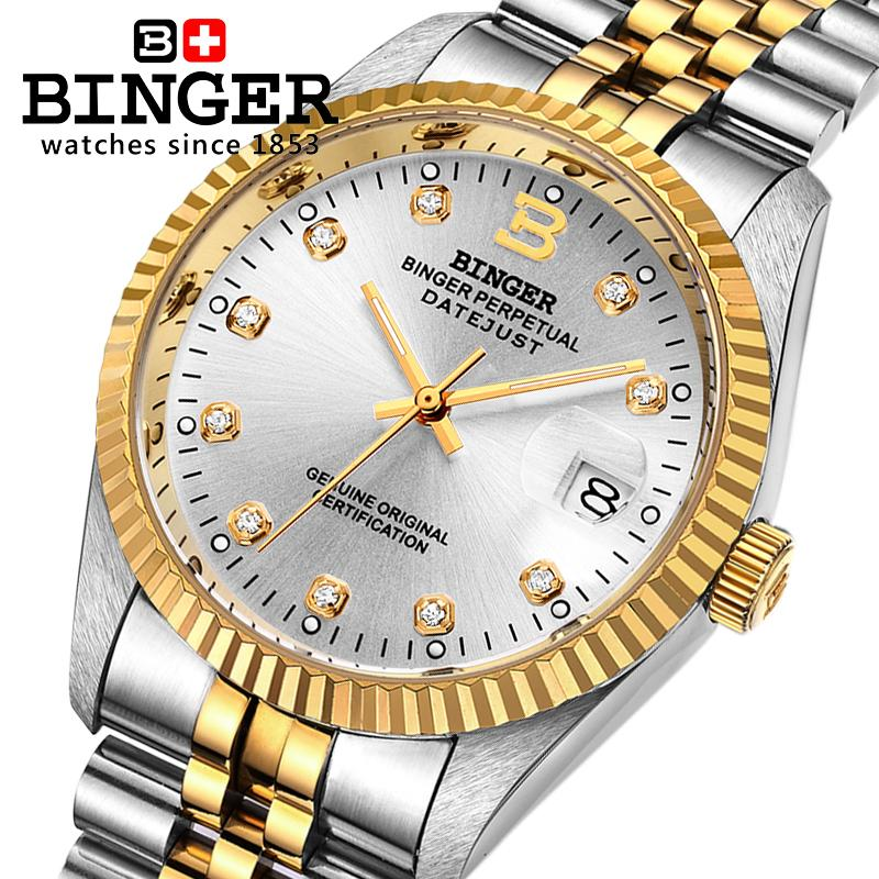 Switzerland Wristwatches BINGER 18K gold watches men self-wind automatic winding mechanical Wristwatches BG-0373-4 original binger mans automatic mechanical wrist watch date display watch self wind steel with gold wheel watches new luxury