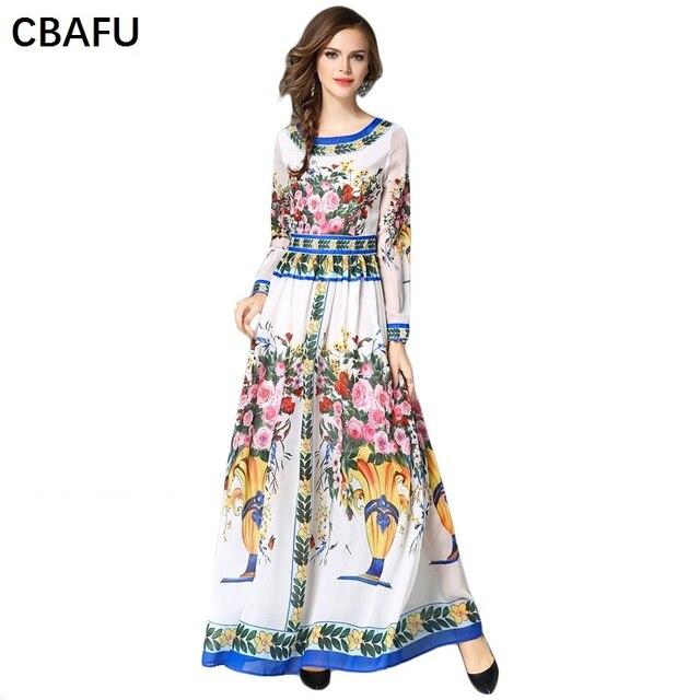 0c00bdb9fb CBAFU mexican dresses high quality designer runway dress logn sleeve o neck  women print slim party dress long maxi dress X231