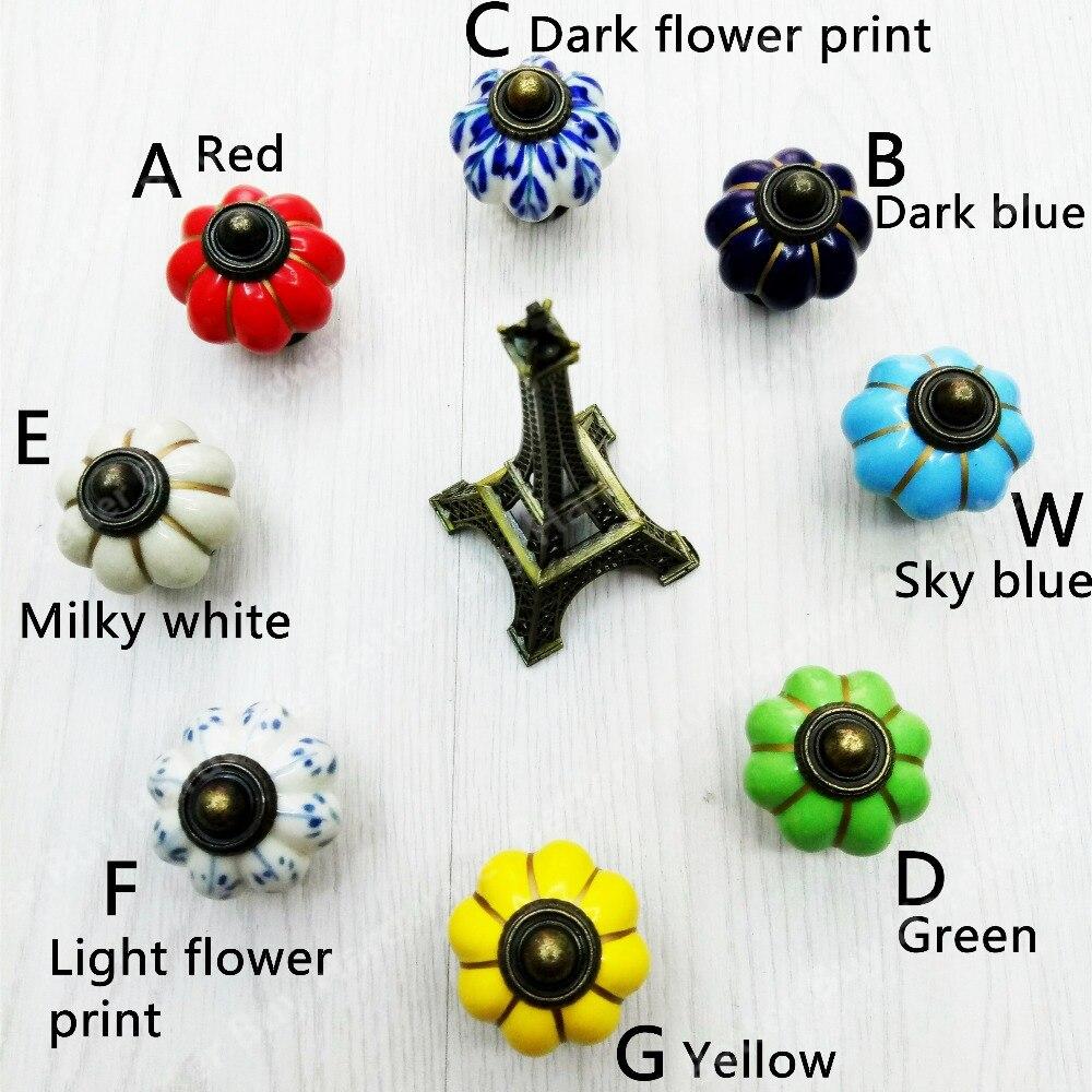 Aliexpress.com : Buy Dia.34mm Pumpkin Colored ceramic knob Blue ...