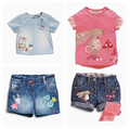 Retail 2016 new girls clothes Summer girls cartoon rabbit T-shirt + bird strawberry denim shorts 2pcs kids clothes