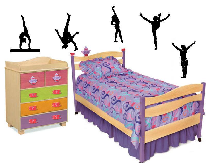gymnastics sports vinyl wall art decal sticky decor letters stickers custom 5pcsxh9inch