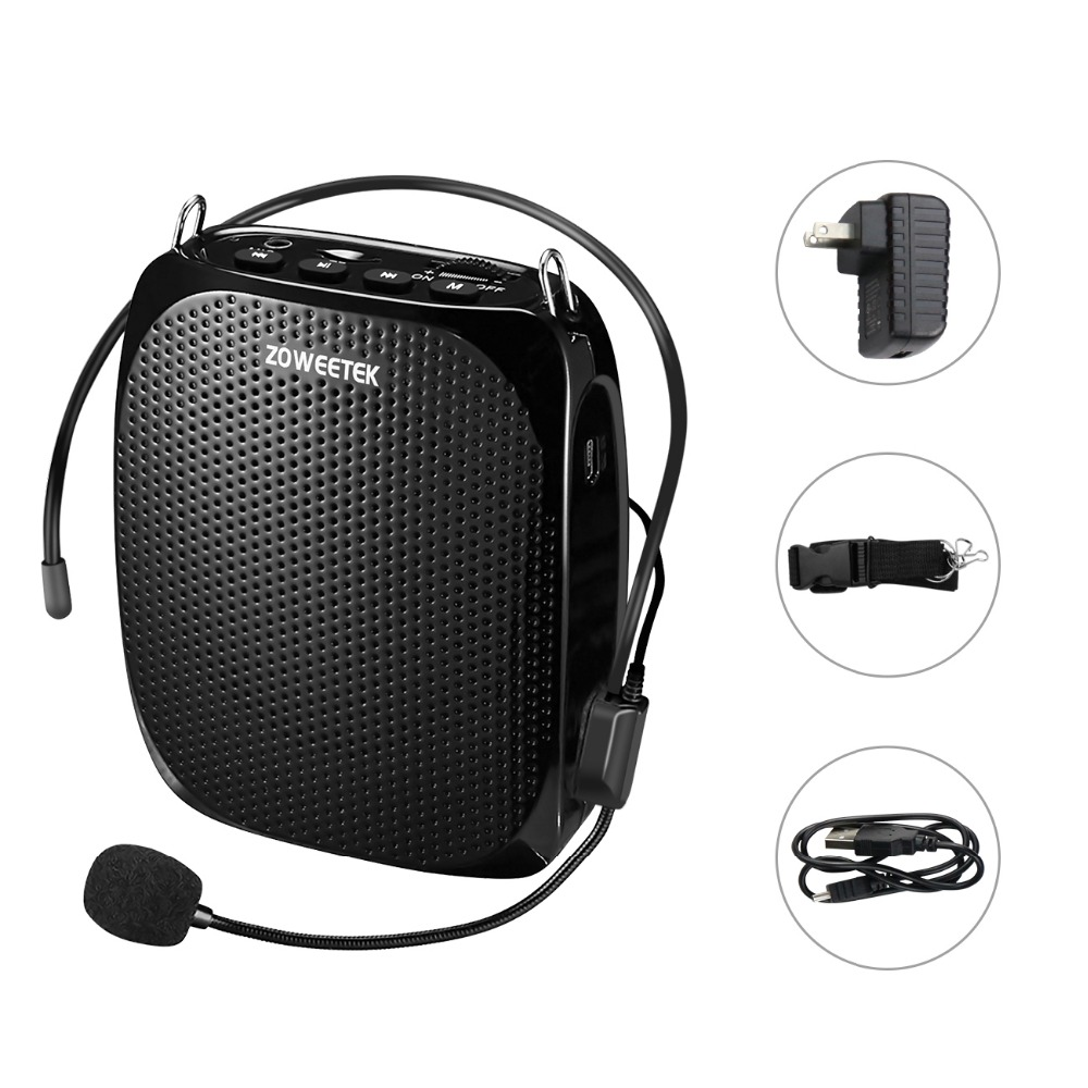 Zoweetek 10W Wired Mini Audio Speaker Portable Voice Amplifier Natural Stereo Sound Microphone Loudspeaker for Tour Guide Speech