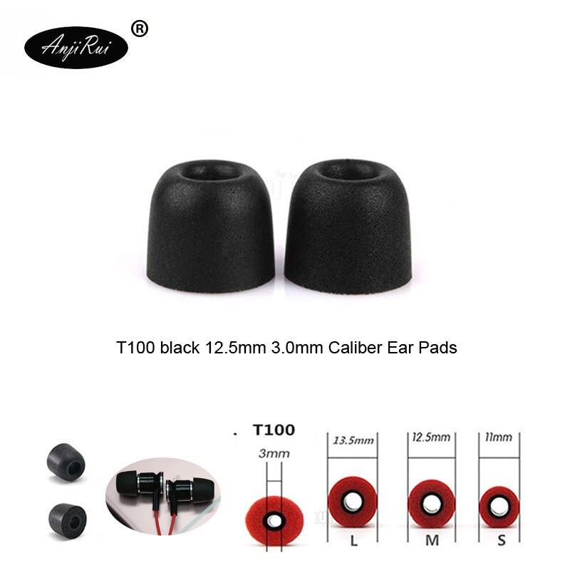 2 pcs/1 pairs ANJIRUI T100 Black 12.5mm 3.0 mm Caliber Ear Pads/cap memory ear foam eartips for in ear Headphones tips Sponge