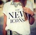 Venda quente de verão 2015 Plus Size camiseta novos ícones impresso Moda casual Manga Curta Gola Redonda t-shirt Casal Branco topos