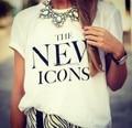Venta caliente 2015 del verano Más tamaño camiseta nuevos iconos Moda Manga Corta Cuello Redondo impresa ocasional Pareja t-shirt Blanco Tops